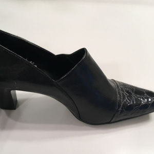 Franco Sarto Teresa Black Ankle Bootie Croc Detail